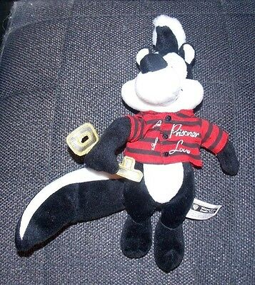 PEPE LE PEW WARNER BROS. Bean Bag Plush Stuffed Animal beanie 1998 skunk black
