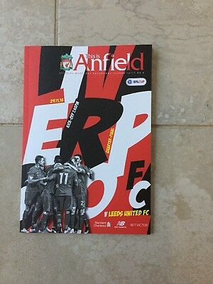 Liverpool FC V Leeds UTD Official Match day Programme EFL Cup