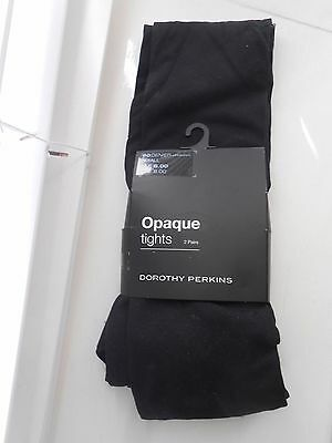 2 Pairs of Black Opaque Tights 60 Denier Size Small