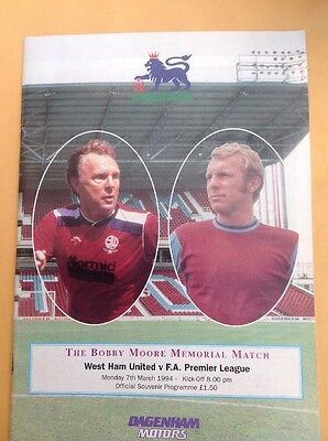 West Ham v F A Premier League football programme, 7 March 1994. Bobby Moore