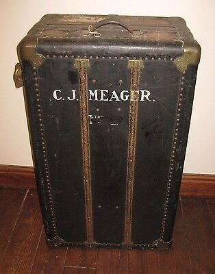 Vintage Travel Wardrobe Trunk Portmanteau Original Cunard White Star Label