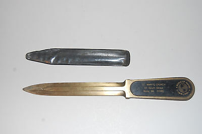 St. Mary's Church Brass Letter Opener, Ware Mass.