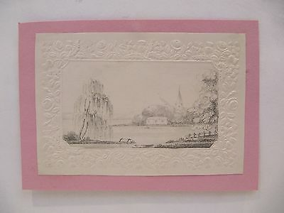 19th CENTURY, Pencil Drawing, LANDSCAPE WITH CHURCH BEYOND