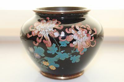 Very Fine Japanese Cloisonne Small Rose Bowl Type Vase Chrysanthemums
