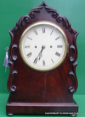 English Antique Mahogany 8 Day Twin Fusee Bracket Mantle Clock Serviced