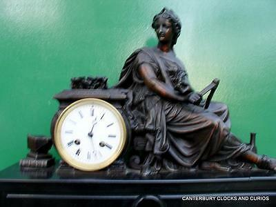 Antique Bronze Goddess Statue Black Marble French 8 Day Mantle Clock Serviced