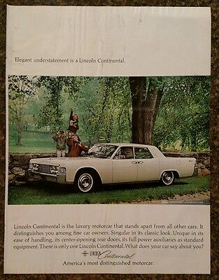 """1964 - Lincoln Continental White  - 10x13"""" Vintage Color Print Ad"""