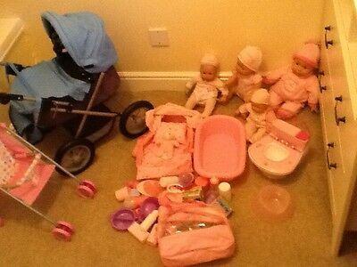 large baby born dolls, pushchair, toilet and accessories bundle