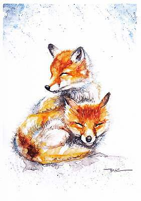 NEW A4 PRINT of an Original Watercolour Painting by Be Coventry,Little Foxes 1