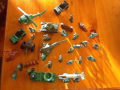 Toy soldiers and many vehicles. Hours of fun.