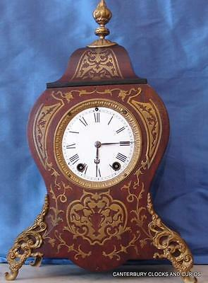 Antique Septh Thomas Two Train 8 Day Rococo Ormolu Boulle Mantle Clock Serviced