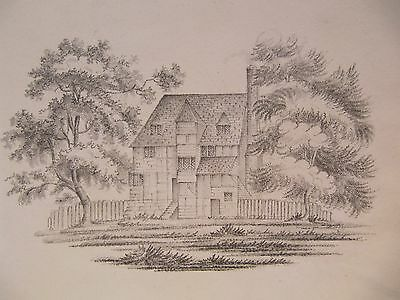 19th CENTURY, Pencil Drawing, A TIMBERED HOUSE