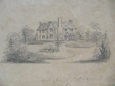 19th CENTURY, Pencil Drawing, COTTAGE, LEIGH