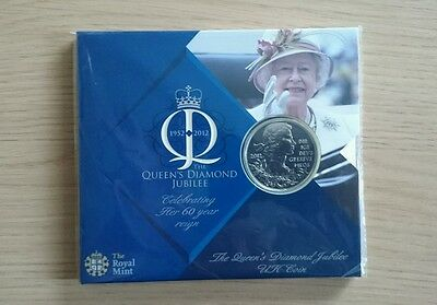 2012 Queens Diamond Jubilee £5 Five Pound Coin in Unopened Presentation Pack