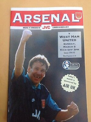 Arsenal v West Ham football programme, 5 March 1995