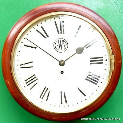Antique English Mahogany Great Western Railway 8 Day Fusee Dial Clock Serviced