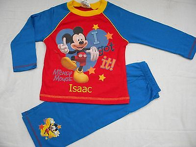 Personalised Disney Mickey Mouse red pyjamas age 3 - 4 years with a name