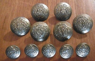 "LOT OF 11 x VINTAGE MATCHING ""MILITARY STYLE"" BRASS BUTTONS - ALL VGC !"