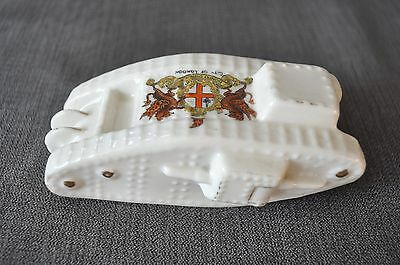 WW1 crested china model of a tank-City of London