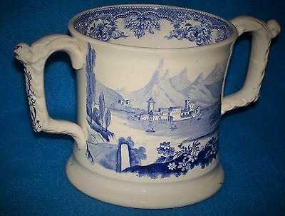 PEARLWARE BLUE AND WHITE LOVING CUP c 1830 TRANSFERWARE ALPINE