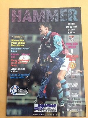 West Ham v Manchester United football programme, 22 January 1996