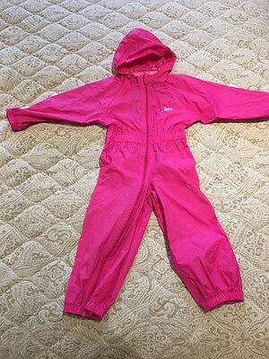 Girls Trespass Waterproof All in one outfit coat trouser suit 2-3 years. Puddle