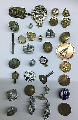 Bulk Collectable WW2 Army Military Buttons Bits And Pieces Coins Badges Medals S