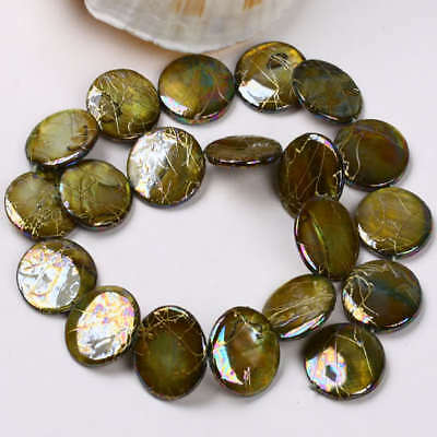 """20mm Mother Of Pearl Shell Disc Loose Beads 15.5""""L"""
