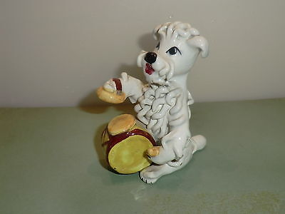 Old Poodle Ornament Playing Drums - Retired Greyhound Trust Charity Auction