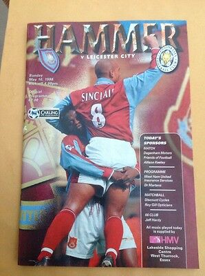 West Ham v Leicester football programme, 10 May 1998