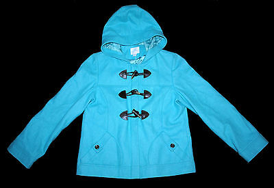 Next Girl Coat Jacket 13-14 Years 164Cm Warm Hooded Teal Color 57%wool