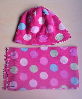 Hat and & scarf set, fleece material, pink with dots, 4 to 8 years
