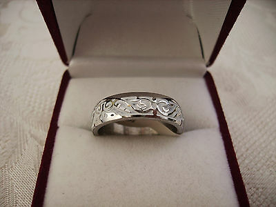 Men's Stainless Steel Ring Size With White Enamel Pattern