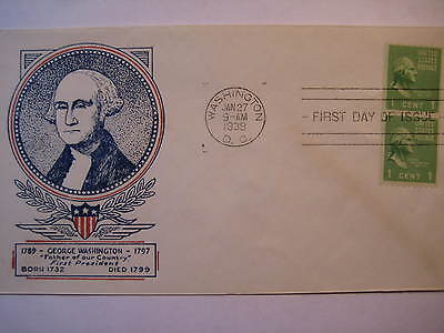 804-58 Fdc Ua Coil Washington Jan 27, 1939, Clifford  Cachet