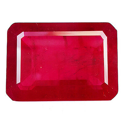55.45 Ct Awesome Blood Red Ruby Octagon Shape Lab Created Corundum Chathum