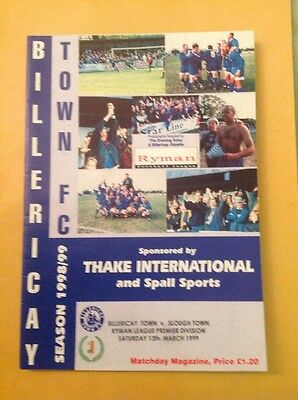 Billericay v Slough football programme, 13 March 1999