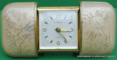 Europa Vintage German 7 Jewels Movado Style Travel Alarm Cushion Clock Serviced