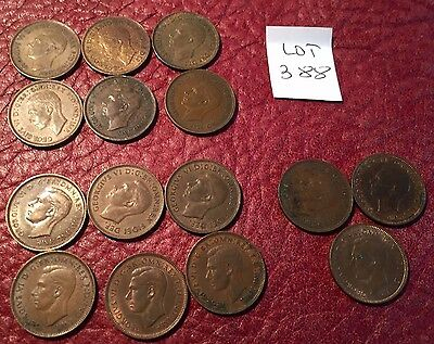 15 Different-Dated George Vi Bronze Farthings - Job Lot 388