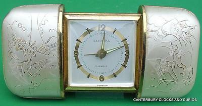 Europa Vintage German 7 Jewels Movado Style Travel Alarm Cushion Clock Serviced2