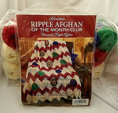 Herrschners Ripple of The Month ORNAMENTS Ripple Afghan Crochet Yarn Kit 50 x 61