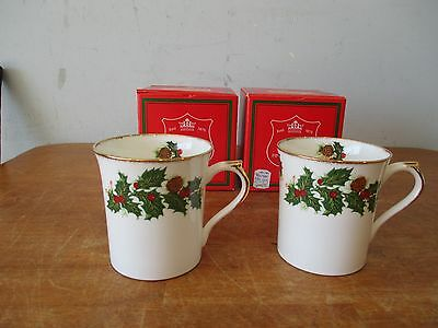 Set of 2 Queens Rosina Fine Bone China Yultide Mugs/Cups with Gold trim