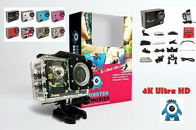 Professional MONSTER 4K Ultra HD Sports Action Camera 16MP Waterproof WIFI