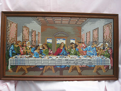 """Large  Cross Stitch """"the Last Supper """" Framed & Glazed"""