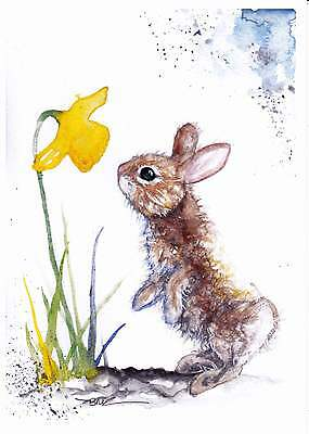 NEW A4 PRINT of an Original Watercolour Painting by Be Coventry, Rabbit