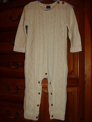 BABY GAP boy/girl 1 pc Cream Cable Sweater Knit Outfit/Romper  Size 18-24M Nwt's