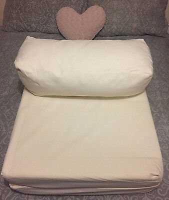 Cream fold up mattress futon sofa chair guest bed couch