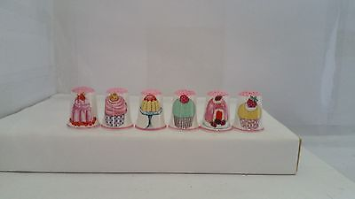 Set of 6 Cup Cakes and Jellys Design thimbles