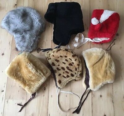 6 Rare Vintage Russian Winter Children's Fur Hats
