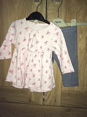 Baby Girls 2 Piece Set By NEXT Top & Leggings Age 3-6 Months