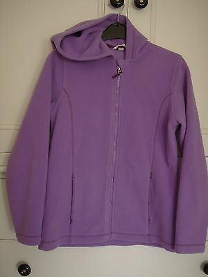 Girls lilac fleece jacket with hood. Age 11 - 12